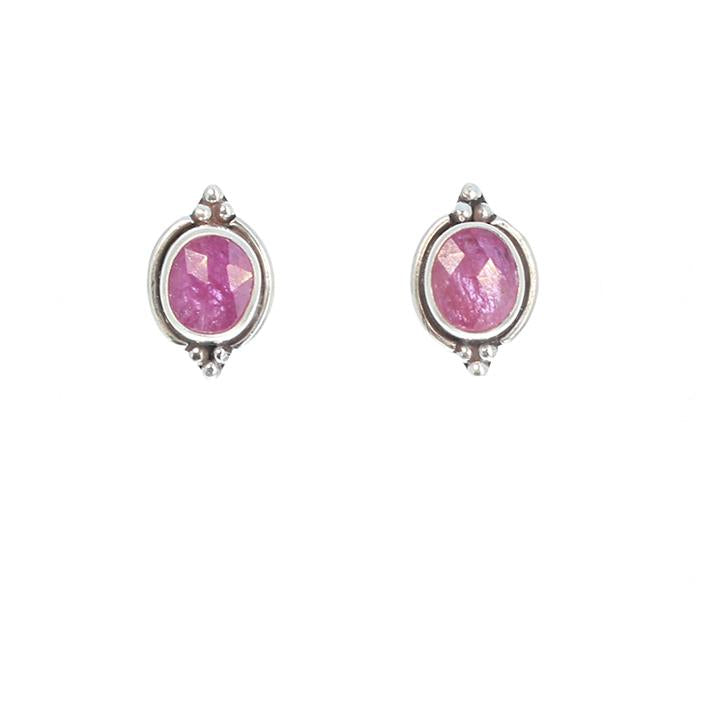 RUBY Faceted Earrings Post Style Studs Sterling