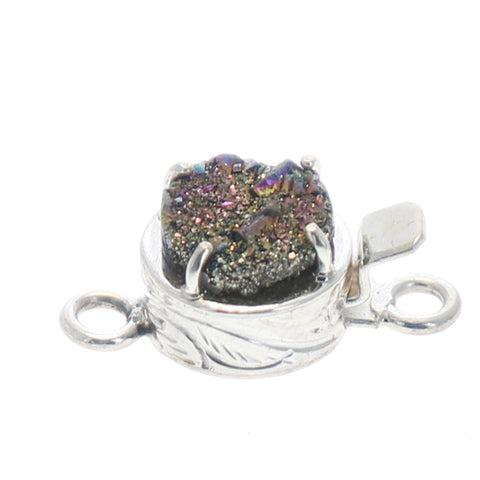 Multi Color Drusy Sterling Clasp Round 10mm
