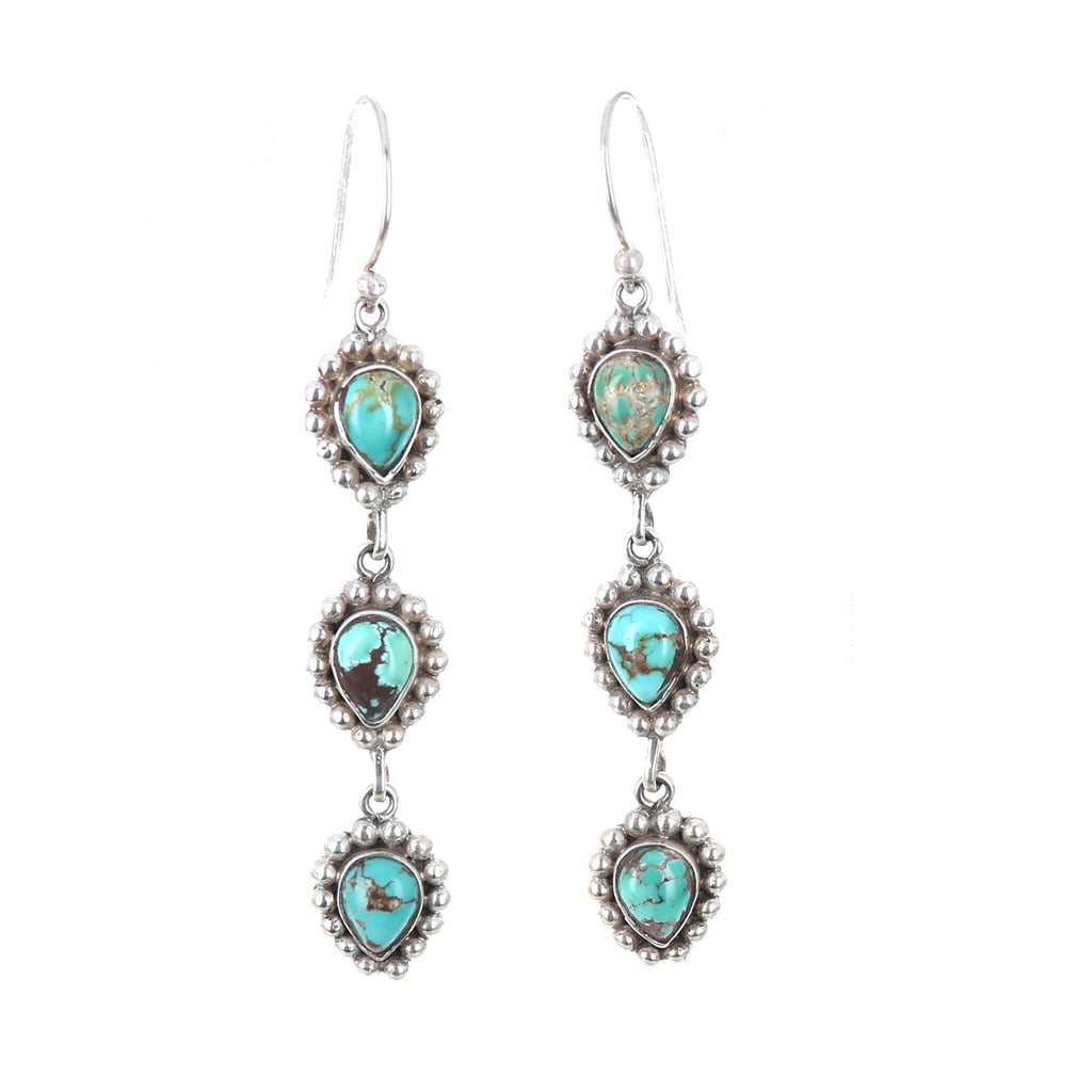 "CARICO LAKE Turquoise Sterling Dangle Earrings 2.75"" Teardrop"