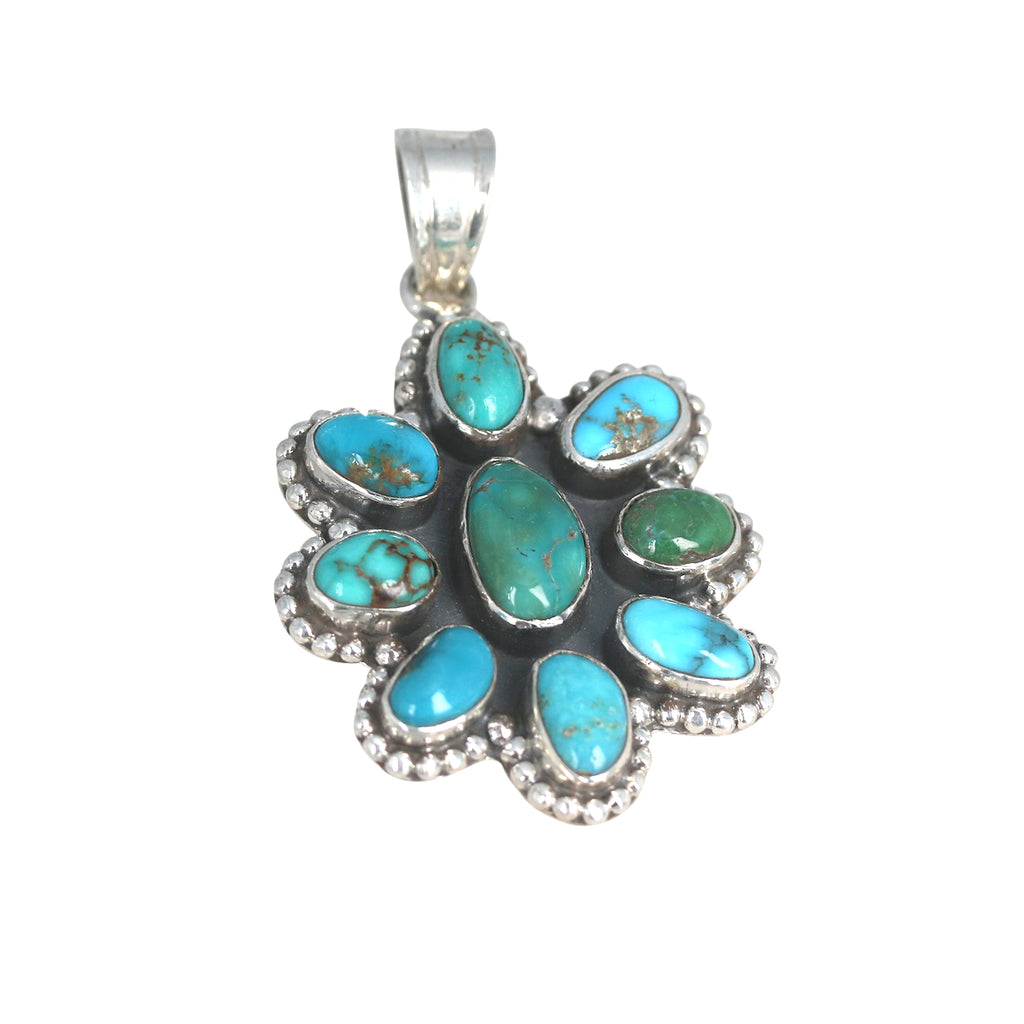 Turquoise Mountain TURQUOISE PENDANT Sterling Flower