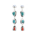Blue Fox Turquoise Earrings Sterling Silver with Italian Coral