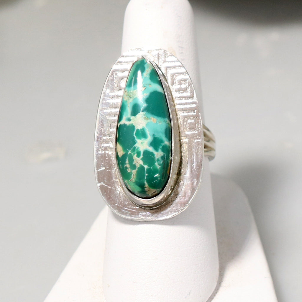 ROYSTON Turquoise Ring Sterling Southwest Emerald Green