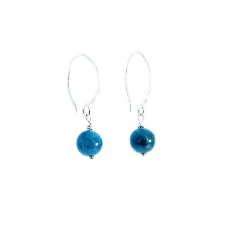 Apatite Earrings Sterling Silver 7mm Round Hoop Midnight Blue