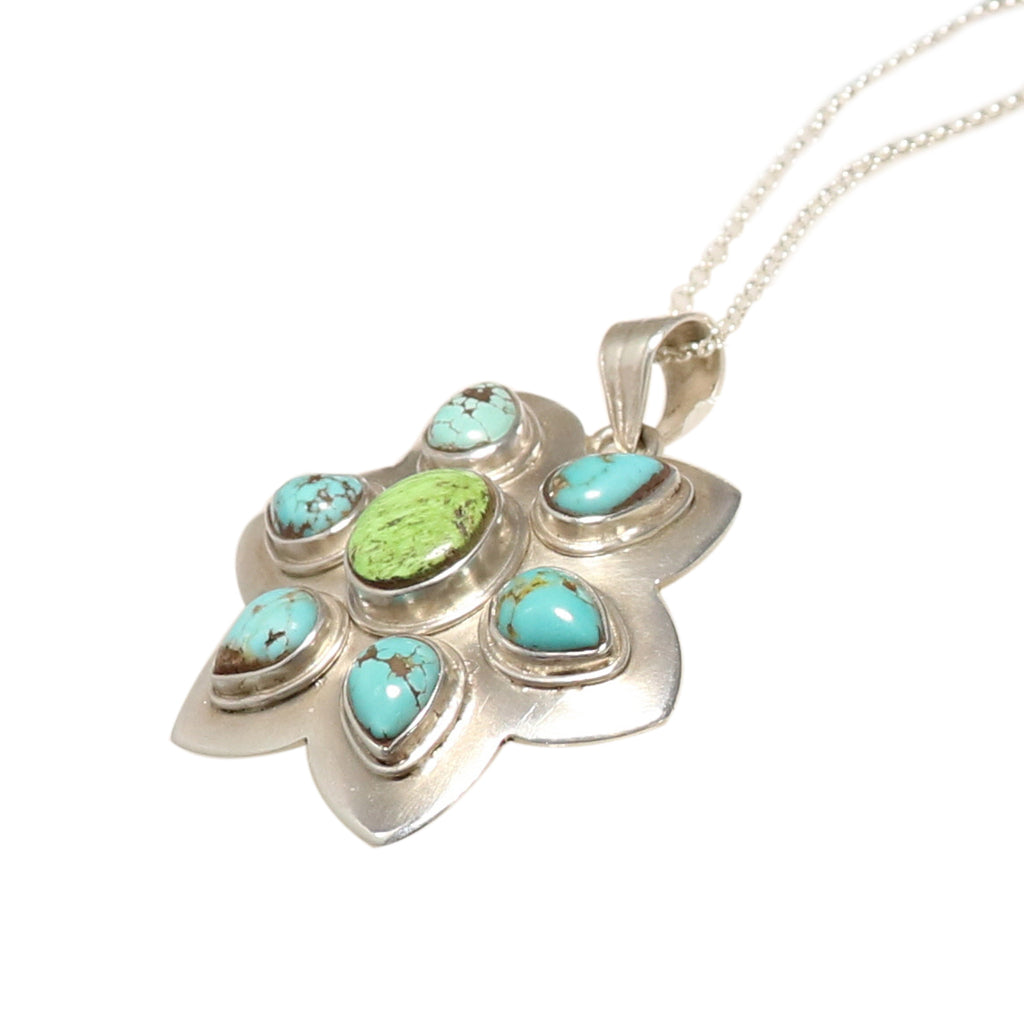 Carico Lake Turquoise Pendant Flower Design Sterling Necklace