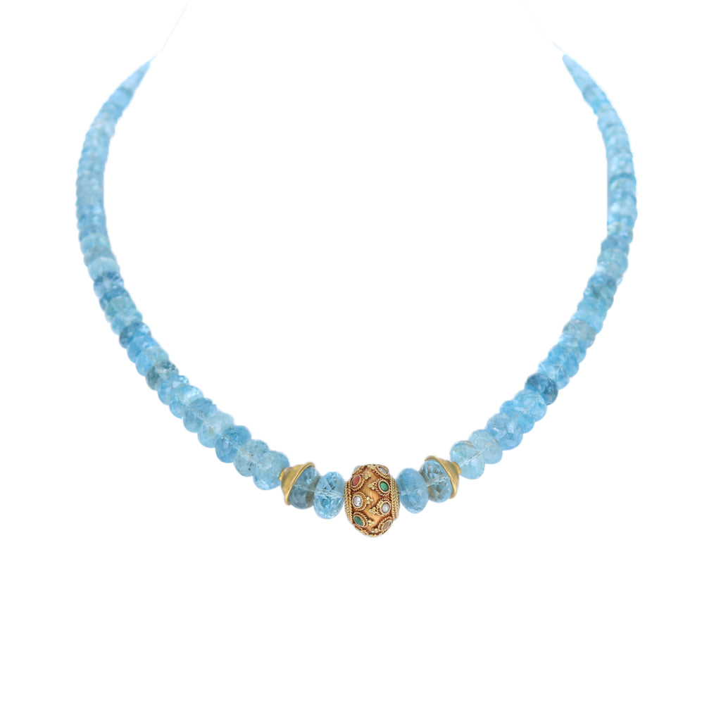 AAA AQUAMARINE Necklace Faceted Rondelles 18K Gold