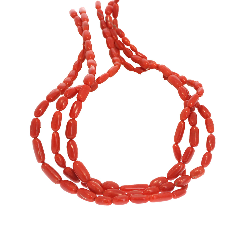 GENUINE ITALIAN CORAL Beads Elongated Ovals 19""