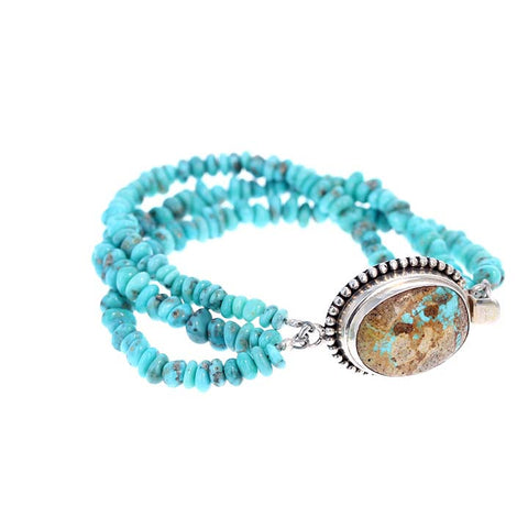ARMENIAN TURQUOISE BRACELET BLUE NUGGET BEADS 3 STRAND