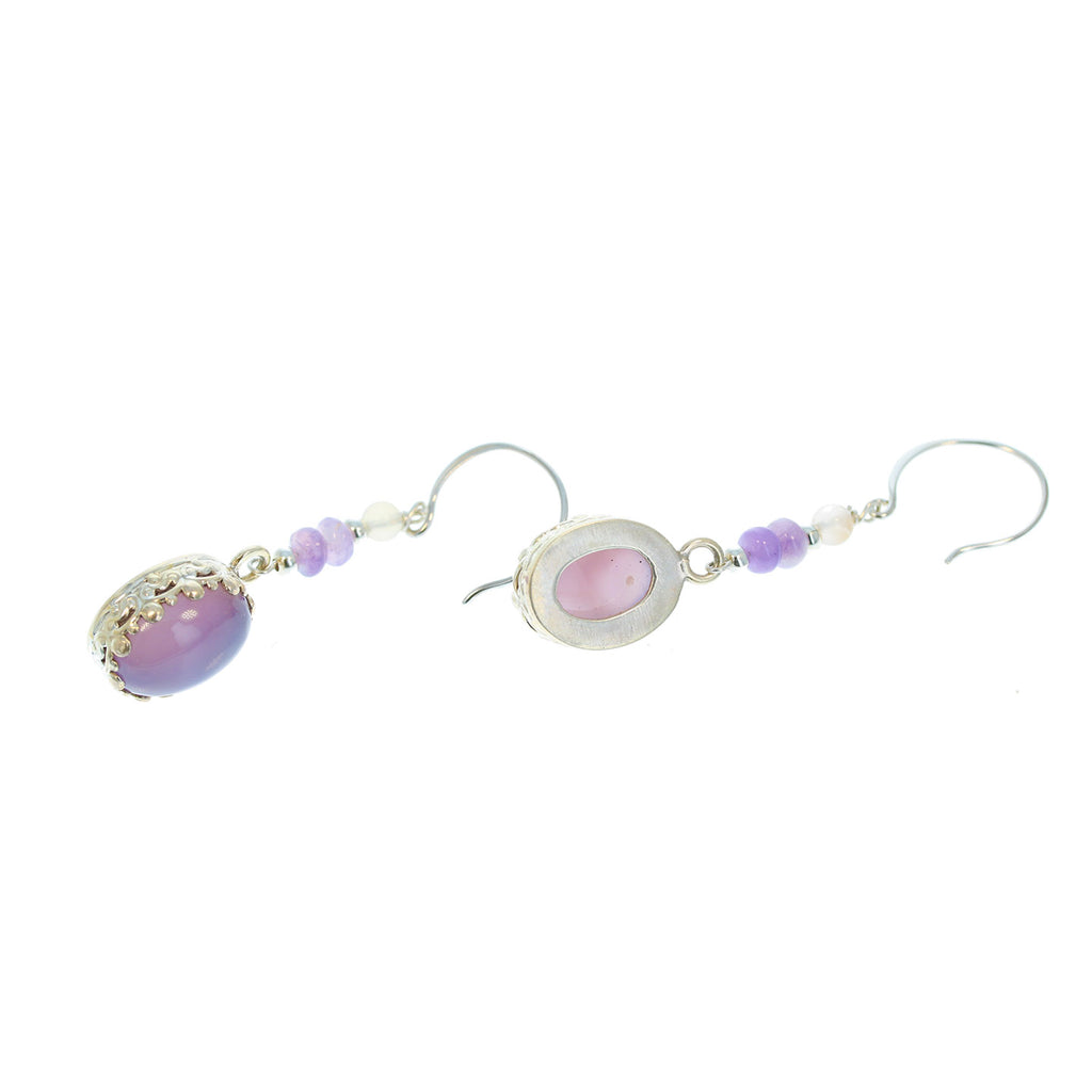 HOLLY BLUE CHALCEDONY Earrings Ovals with Beads Sterling