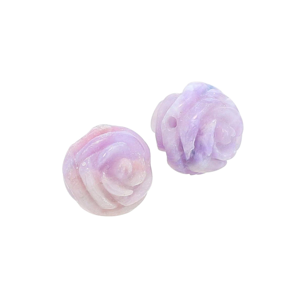 AAA SUGILITE ROSE BEADS Pair Hand Carved