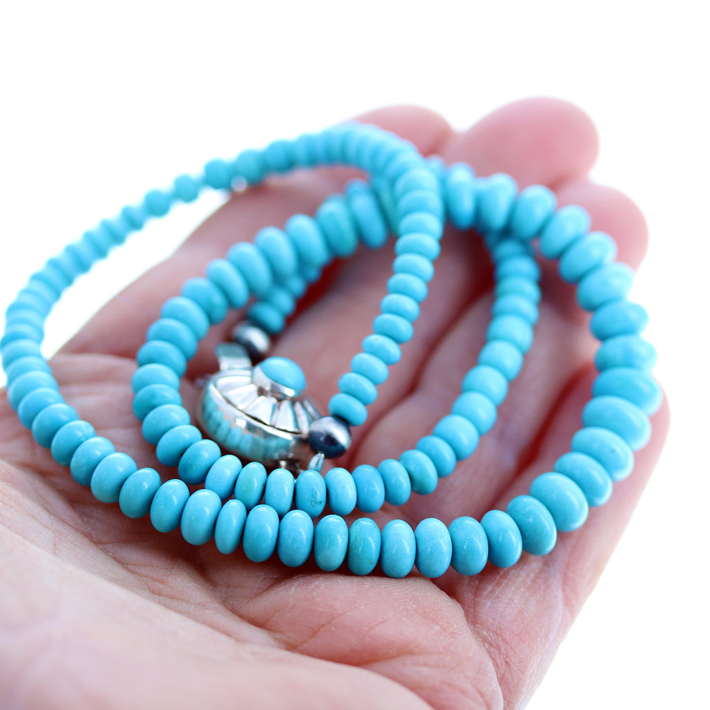 SLEEPING BEAUTY TURQUOISE Graduated Rondelle Beads Sterling