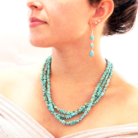 LONE MOUNTAIN TURQUOISE NUGGET NECKLACE LIGHT BLUE 3 STRAND