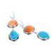 KINGMAN TURQUOISE Earrings with Bright Orange Spiny Oyster