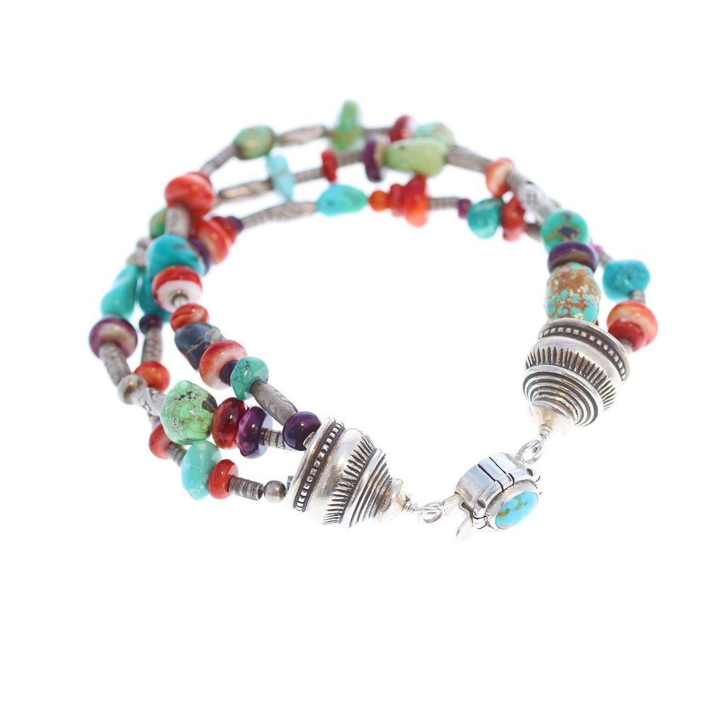 Southwest Colors Bracelet Sterling American Turquoise 3 Strand