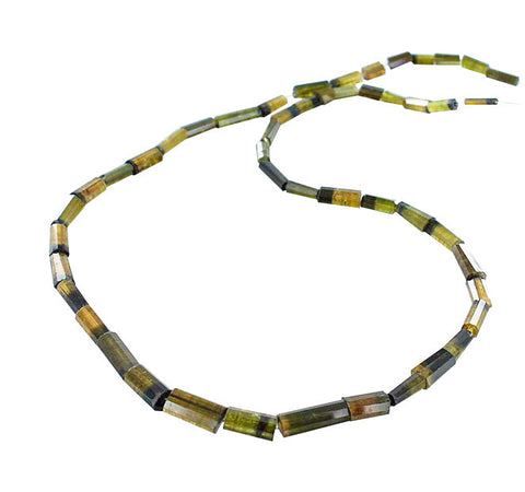 OLIVE GOLDEN TOURMALINE FACETED CYLINDER BEADS 5x8-15x6mm - New World Gems - 1