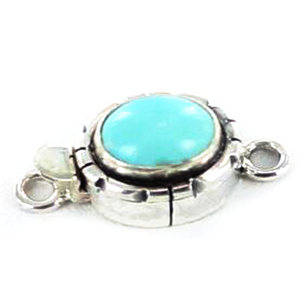 Armenian Turquoise Sterling Silver Clasp Oval 9x10.5mm - New World Gems
