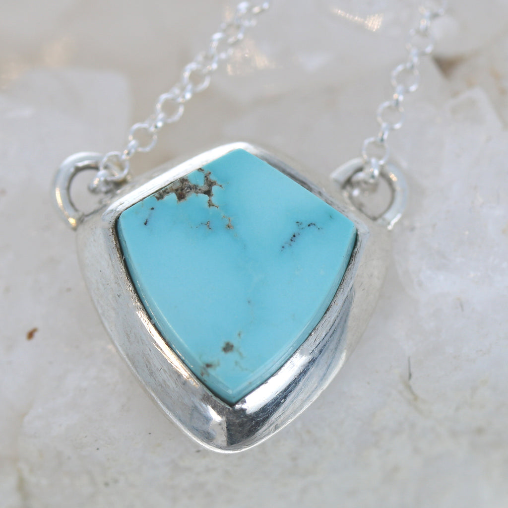 Rare #8 Mine Turquoise Sterling Pendant Necklace 17""