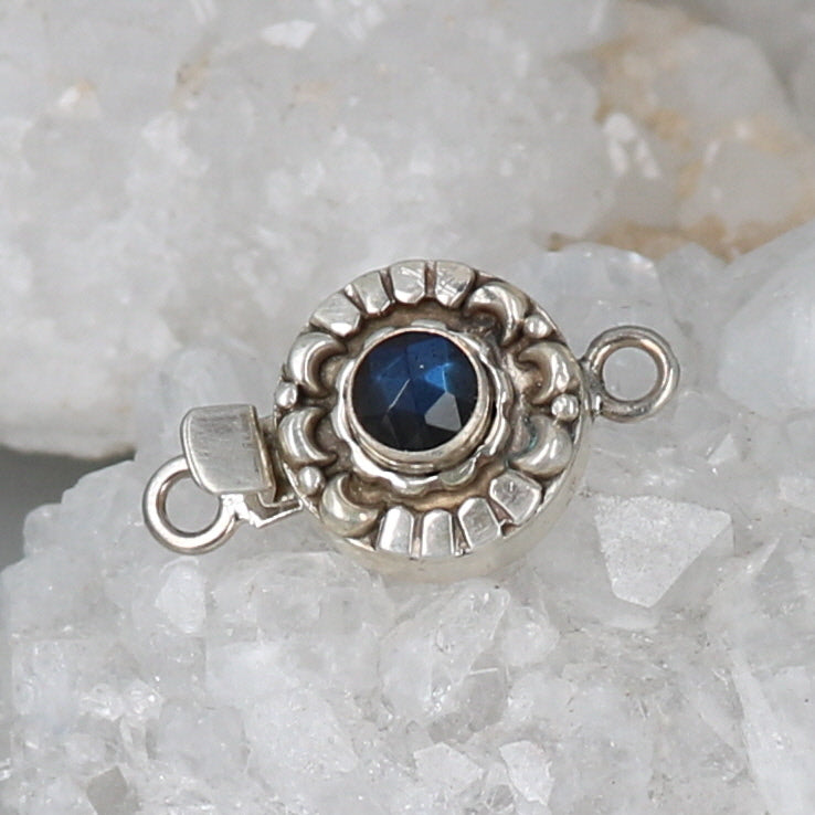 LABRADORITE CLASP Moon Petal Design Faceted Rose Cut Blue Black 6mm