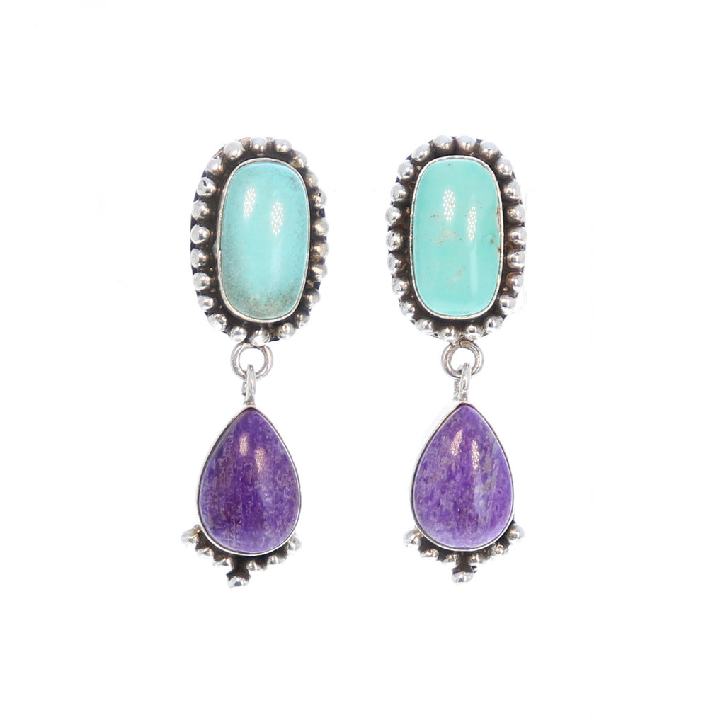 Carico Lake Turquoise and Sugilite Earrings Sterling 2 Stone Choose Color