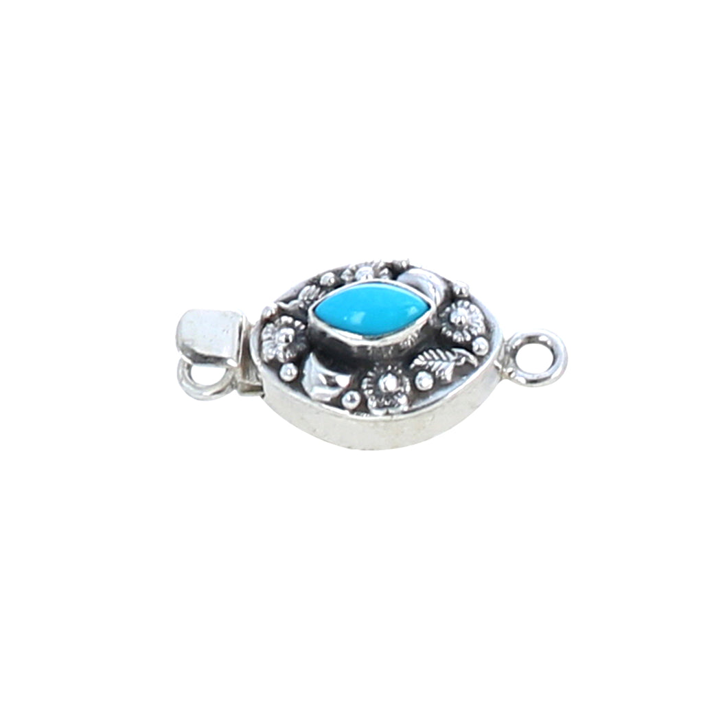Sleeping Beauty Turquoise Clasp Marquis Moons Flowers Sterling
