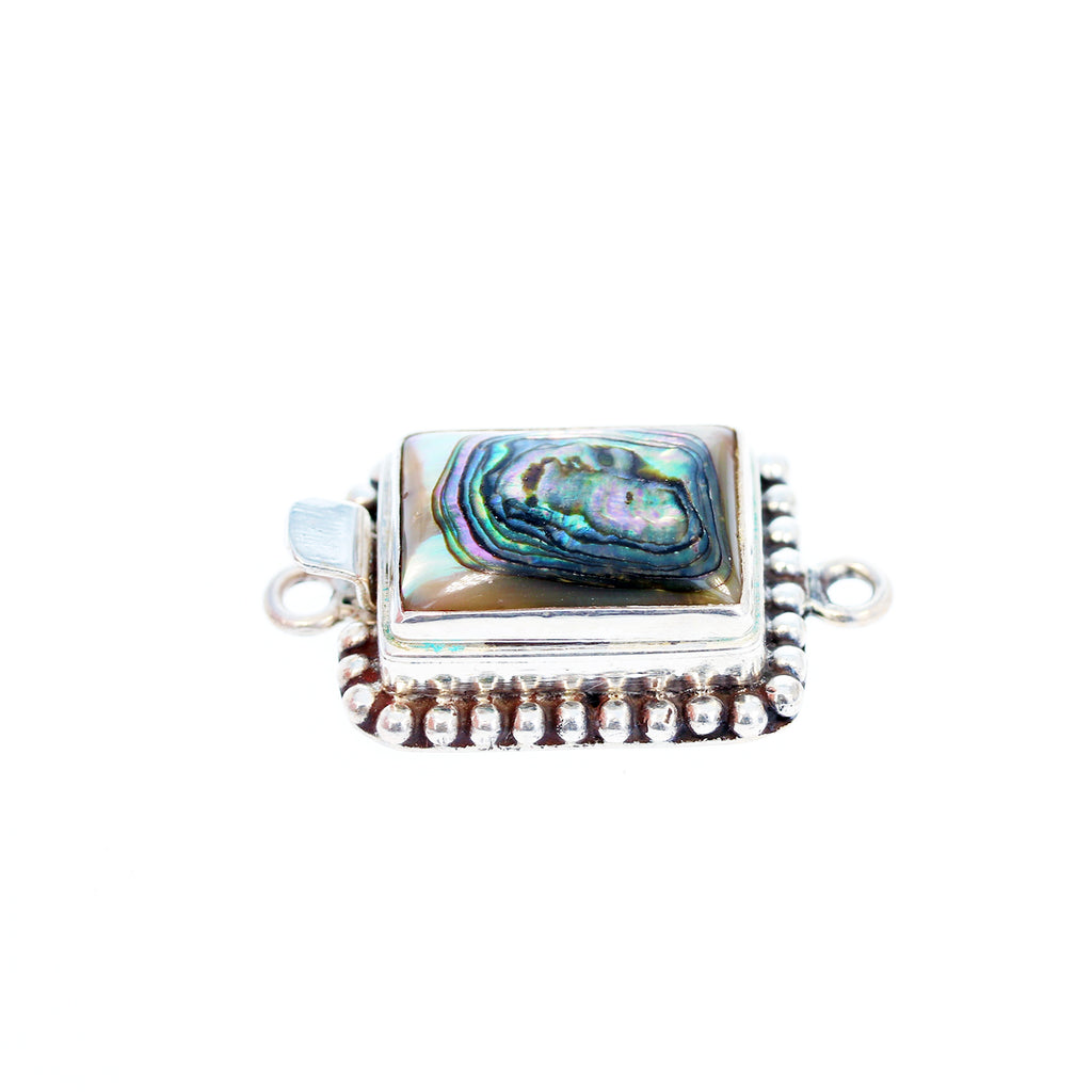 Sterling Abalone Shell Clasp Cushion Dot Design