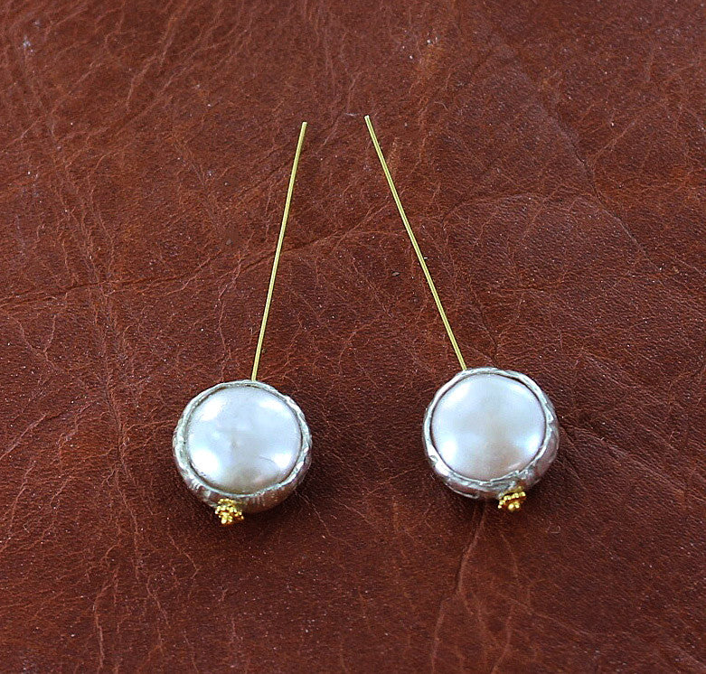 Sterling Silver Rimmed Pearls Etched 2 Piece Set