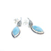 Sky Blue Larimar Earrings Marquis Leaf Shape Post Sterling