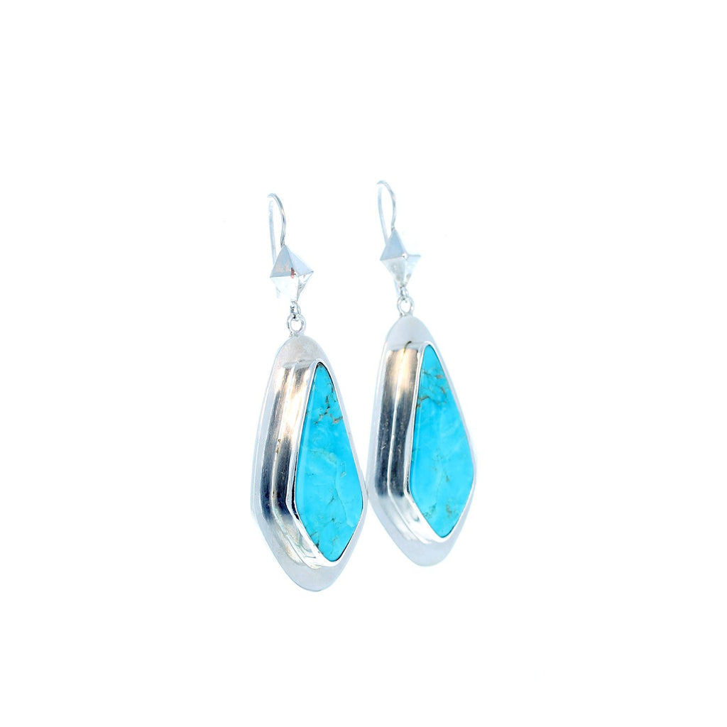 Exquisite BLUE KINGMAN TURQUOISE Earrings Sterling Modern Southwest