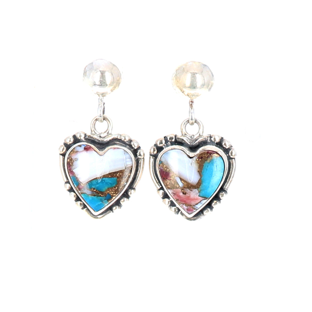 Hearts Turquoise and Spiny Oyster Earrings Sterling Southwest