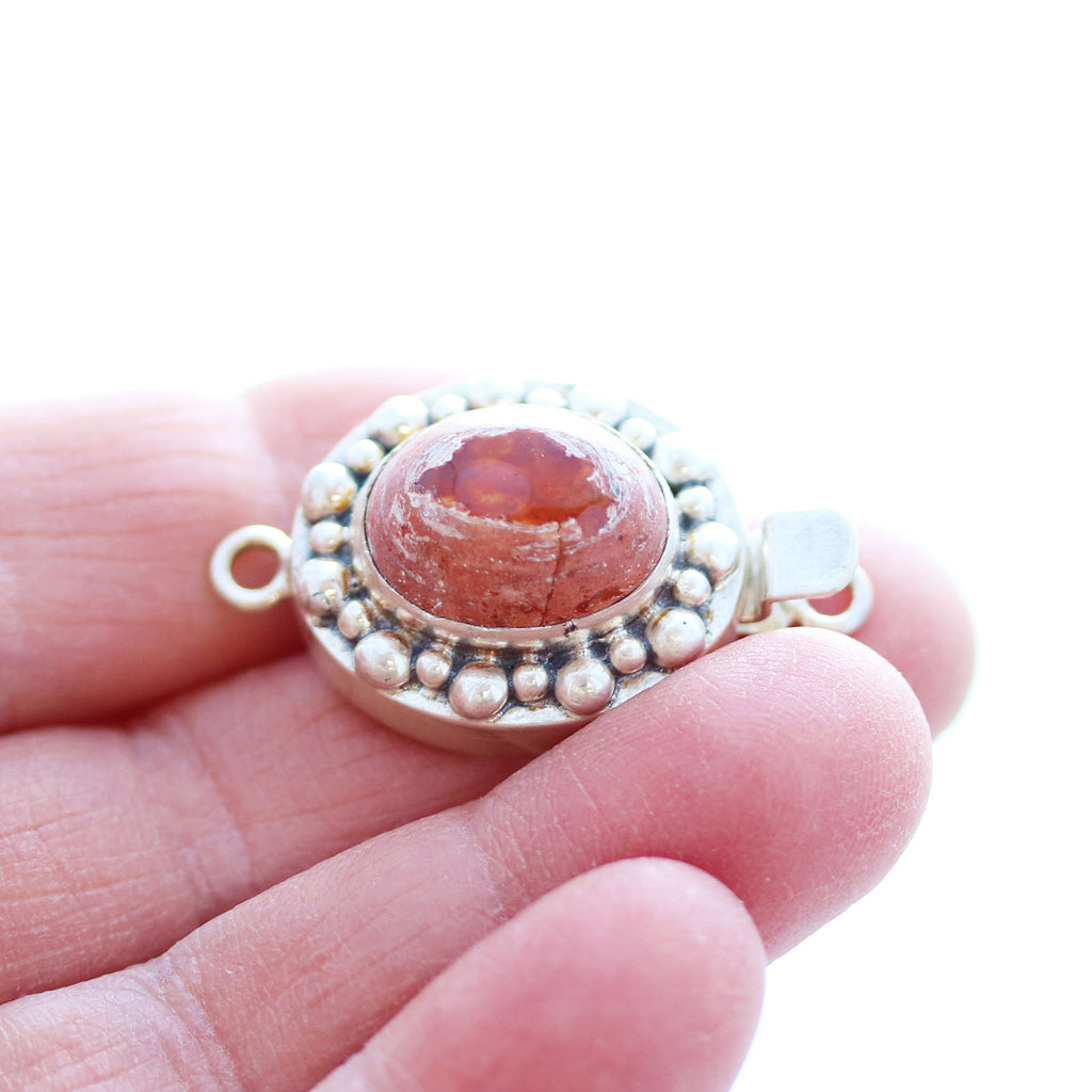 MEXICAN OPAL CLASP LARGE Orange Oval Sterling Dot Design #2