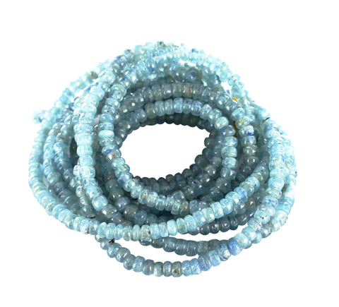"KYANITE BEADS RONDELLE 5mm 16"" Light - New World Gems"