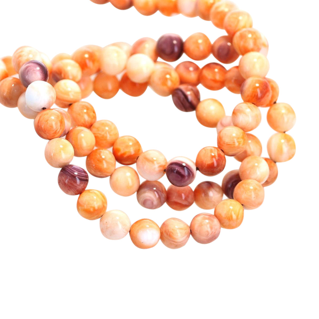 SPINY OYSTER Orange Round Beads 5mm 16""
