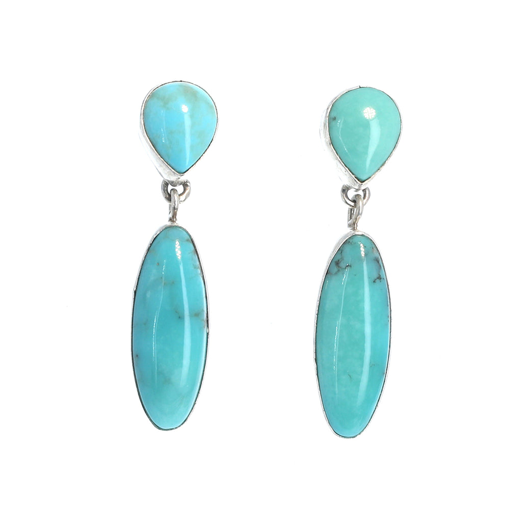 MEXICAN TURQUOISE Earrings Robins Egg Blue Sterling 2 Stone