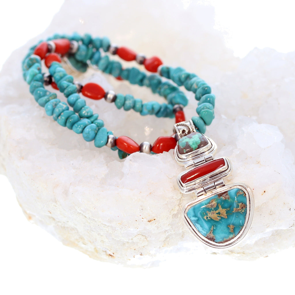 CARICO LAKE TURQUOISE Necklace with Red Coral and Pendant Elegant Southwest