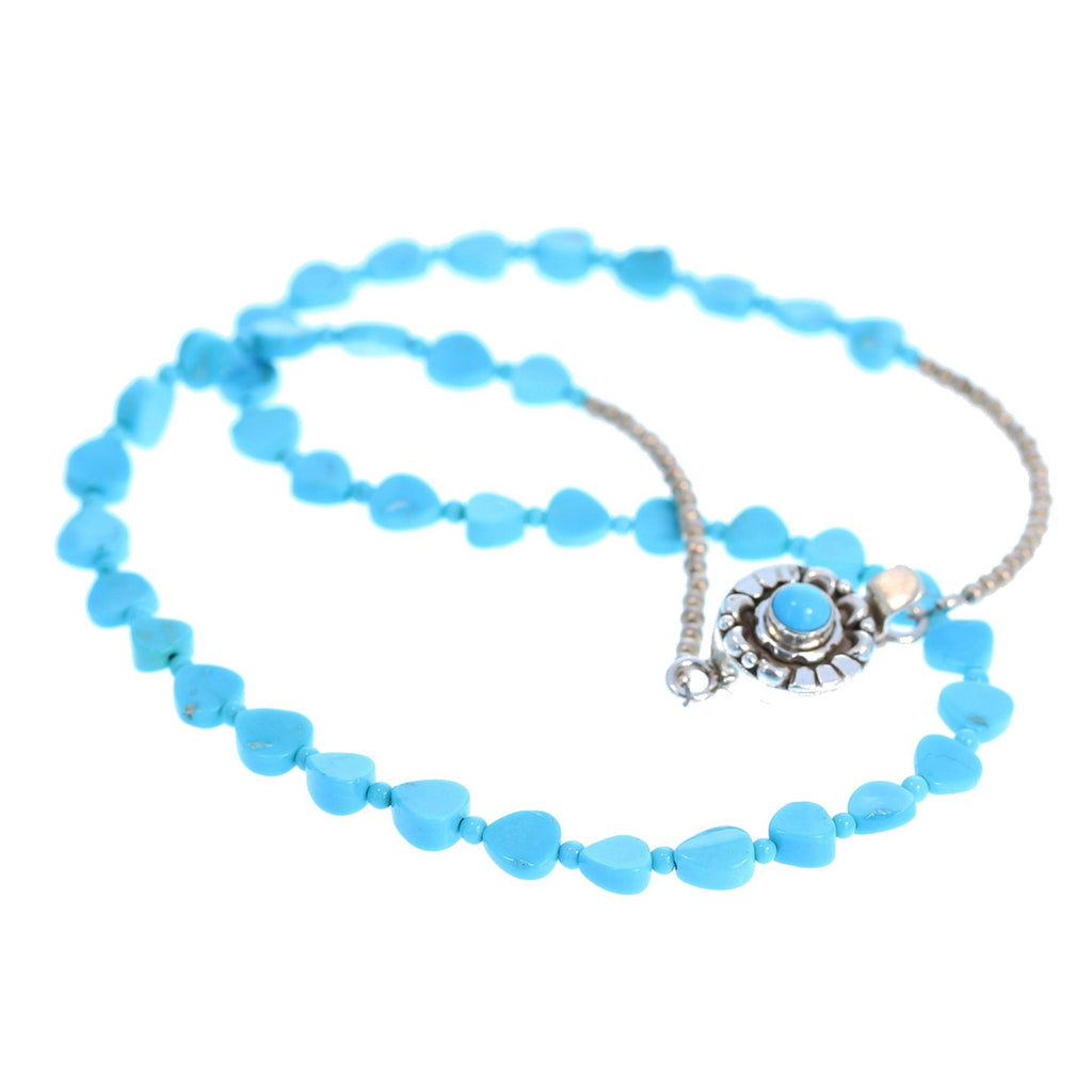 SLEEPING BEAUTY TURQUOISE Necklace Heart Shaped Beads