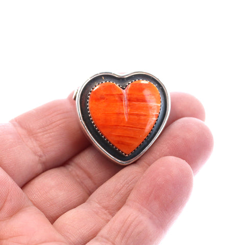 HEART PENDANT BEAD Spiny Oyster Red Orange Sterling Southwest