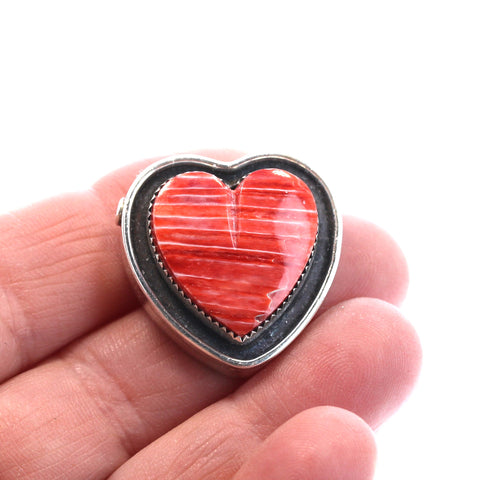 HEART PENDANT BEAD Spiny Oyster Red Sterling Southwest