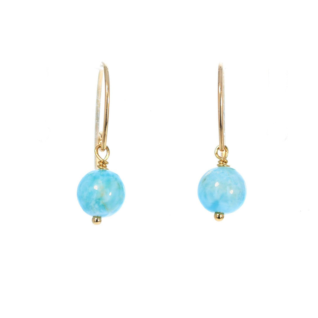 Caribbean Larimar Earrings 14K Gold Filled