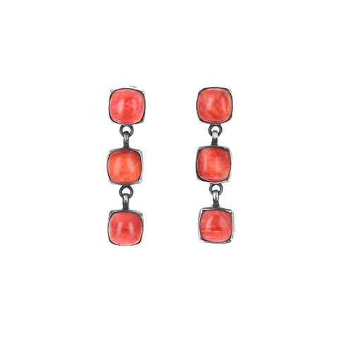 Sunset Orange Spiny Oyster Sterling Earrings 3 Stone Oxidized