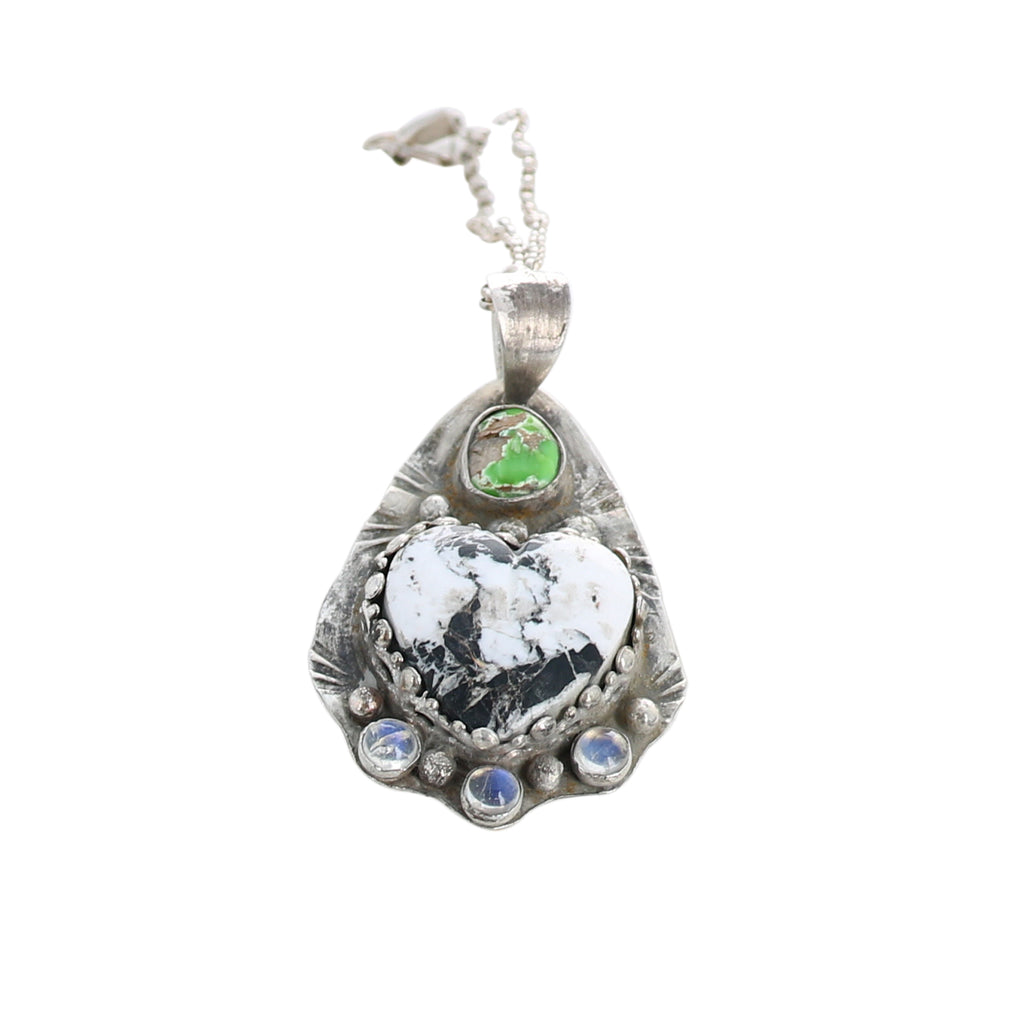 WHITE BUFFALO and Carico Turquoise Pendant with Moonstone Sterling