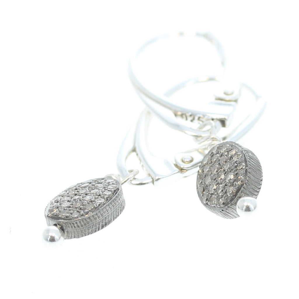 PAVE DIAMOND EARRINGS Sterling Silver 6x8mm 1.25""