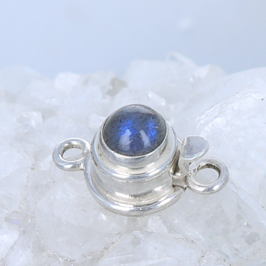 Blue LABRADORITE CLASP Sterling Round 7mm
