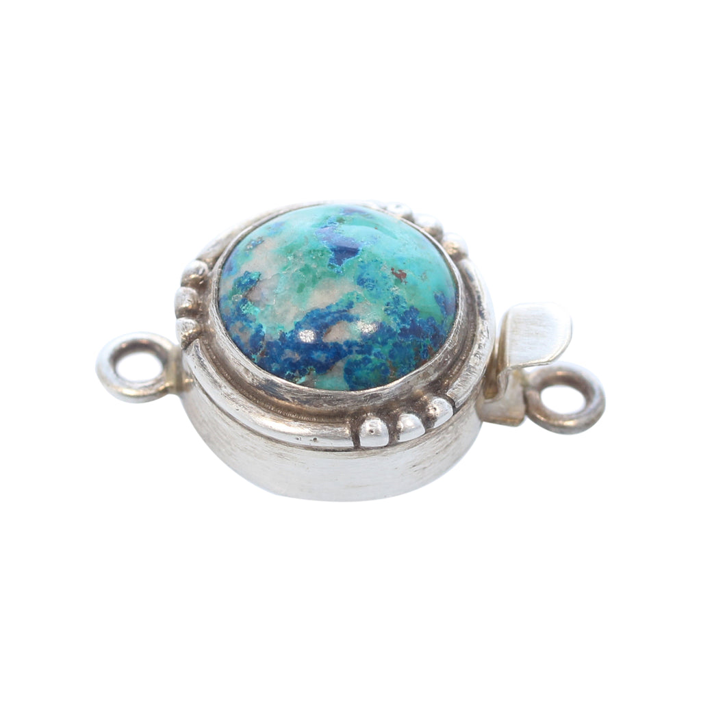 Chrysocolla Clasp Silver Southwest Style Round 14mm