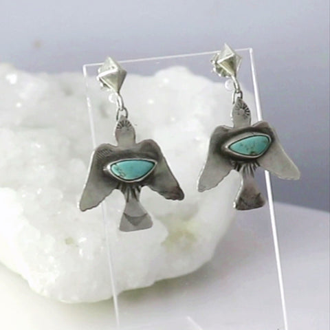 Carico Lake Turquoise Thunderbird Earrings Sterling Silver