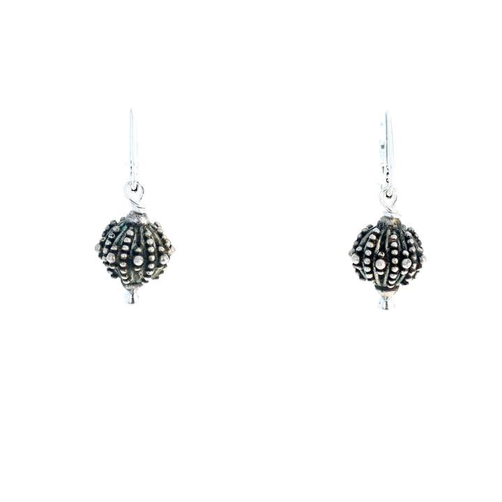 STERLING STARFISH Patterned Round Earrings Leverback
