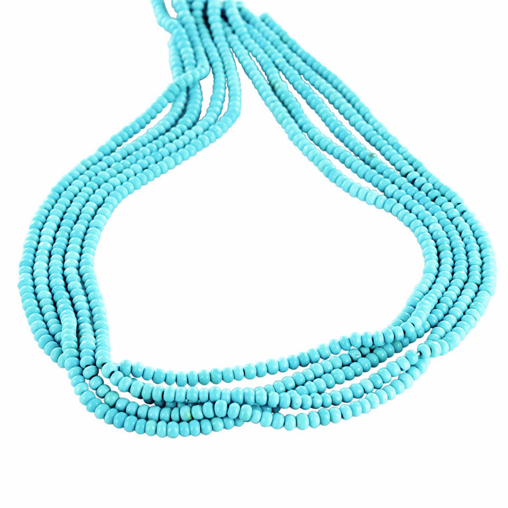 AAA GENUINE SLEEPING BEAUTY TURQUOISE BEADS 3.5mm Rondelles