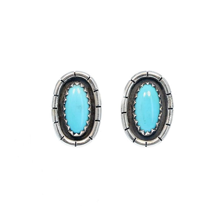 SLEEPING BEAUTY TURQUOISE Earrings Posts Oval 11x6mm