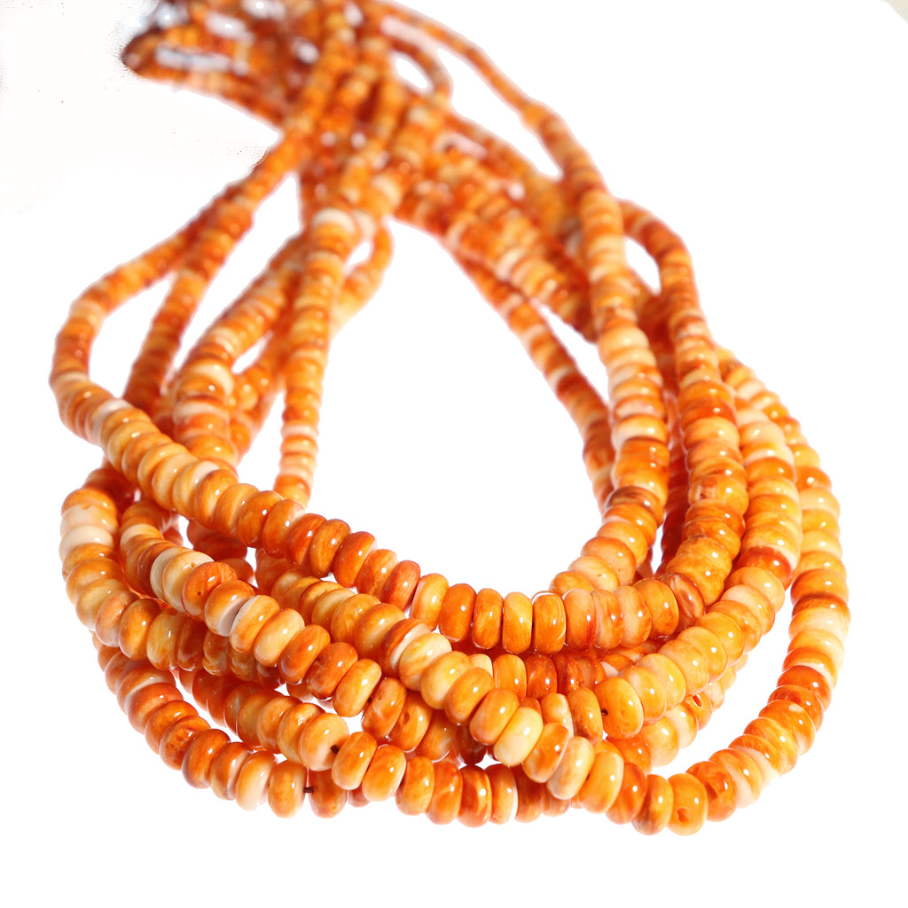 AAA ORANGE SPINY OYSTER Beads Rondelles 4-8mm 16""