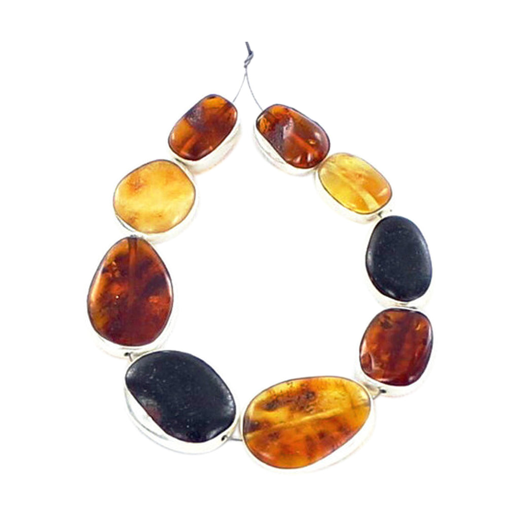STERLING SILVER RIMMED BALTIC AMBER BEADS 9 Pcs