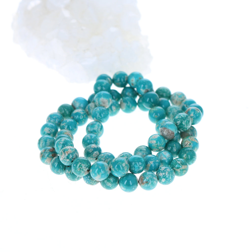 FOX MINE TURQUOISE BEADS Round 7.5mm Teal