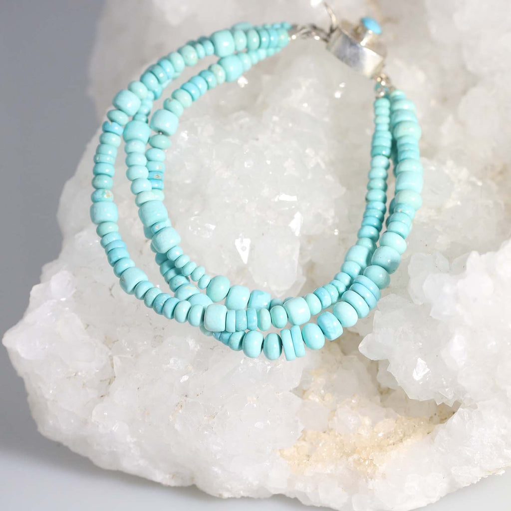 SLEEPING BEAUTY TURQUOISE 3 STRAND BRACELET STERLING